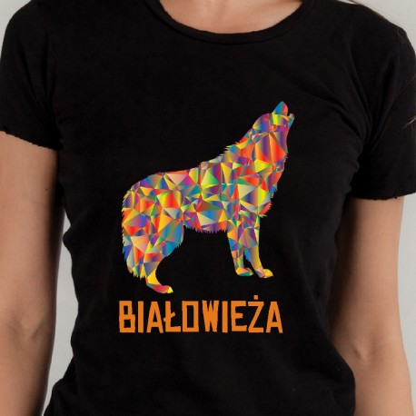 koszulka czarna białowieża wilk